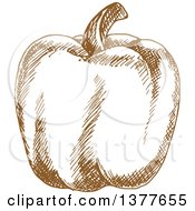 Clipart Of A Brown Sketched Bell Pepper Royalty Free Vector Illustration