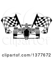 Clipart Of A Black And White Race Car With Checkered Flags Royalty Free Vector Illustration