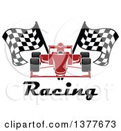 Red Race Car With Checkered Flags Over Text