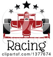 Clipart Of A Red Race Car With Stars Over Text Royalty Free Vector Illustration by Seamartini Graphics