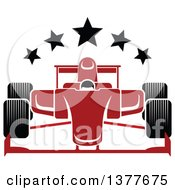 Clipart Of A Red Race Car With Stars Royalty Free Vector Illustration