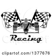 Clipart Of A Black And White Race Car With Checkered Flags Over Text Royalty Free Vector Illustration