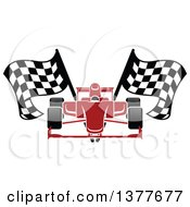 Clipart Of A Red Race Car With Checkered Flags Royalty Free Vector Illustration