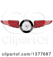 Clipart Of A Flying Tire With Red Wings Royalty Free Vector Illustration by Seamartini Graphics