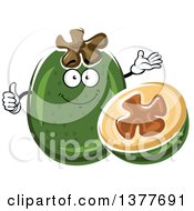 Clipart Of A Pineapple Guava Character And Half Royalty Free Vector Illustration