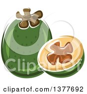 Clipart Of A Pineapple Guava And Half Royalty Free Vector Illustration