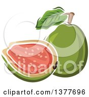 Clipart Of A Whole And Halved Guava Fruit Royalty Free Vector Illustration