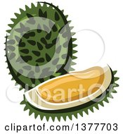 Clipart Of A Durian Fruit And Wedge Royalty Free Vector Illustration