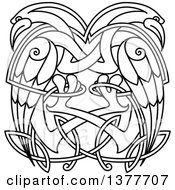 Clipart Of A Black And White Lineart Celtic Knot Cranes Or Heron Royalty Free Vector Illustration