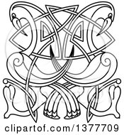 Black And White Lineart Celtic Knot Cranes Or Heron