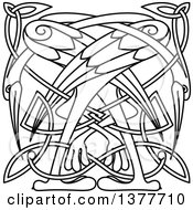 Clipart Of A Black And White Lineart Celtic Knot Cranes Or Heron Royalty Free Vector Illustration by Vector Tradition SM