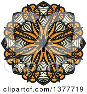 Clipart Of A Navy Blue Orange And Pastel Yellow Kaleidoscope Flower Royalty Free Vector Illustration by Seamartini Graphics