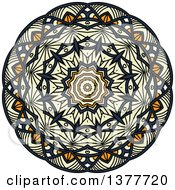Clipart Of A Navy Blue Orange And Pastel Yellow Kaleidoscope Flower Royalty Free Vector Illustration by Vector Tradition SM