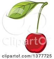 Clipart Of A Cherry And Leaf Royalty Free Vector Illustration by Seamartini Graphics
