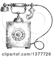 Black And White Sketched Vintage Telephone