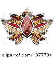Clipart Of A Henna Lotus Flower Royalty Free Vector Illustration by Vector Tradition SM