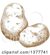 Clipart Of Brown Sketched Potatoes Royalty Free Vector Illustration