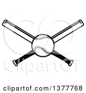 Poster, Art Print Of Black And White Baseball And Crossed Bats
