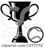 Clipart Of A Black And White Baseball And Trophy Royalty Free Vector Illustration by Vector Tradition SM