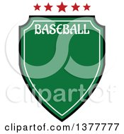 Green Baseball Shield With Stars