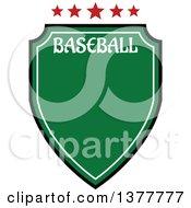 Poster, Art Print Of Green Baseball Shield With Stars