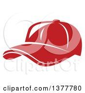 Poster, Art Print Of White Outlined Red Baseball Cap