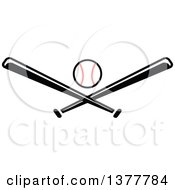 Poster, Art Print Of Baseball And Black And White Crossed Bats