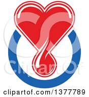 Clipart Of A Red Blood Drop Heart Over A Blue Circle Royalty Free Vector Illustration by Seamartini Graphics
