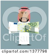 Clipart Of A Flat Design Arabian Business Man Holding Euro Cash On Blue Royalty Free Vector Illustration