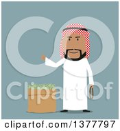 Clipart Of A Flat Design Arabian Business Man With A Bag Of Cash On Blue Royalty Free Vector Illustration