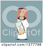Clipart Of A Flat Design Arabian Business Man Holding An Hourglass On Blue Royalty Free Vector Illustration