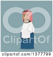 Clipart Of A Flat Design Arabian Business Man Sitting On An Oil Barrel On Blue Royalty Free Vector Illustration