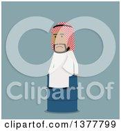Poster, Art Print Of Flat Design Arabian Business Man Sitting On An Oil Barrel On Blue