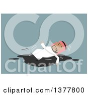 Clipart Of A Flat Design Arabian Business Man Slipping On Oil On Blue Royalty Free Vector Illustration by Vector Tradition SM