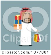 Clipart Of A Flat Design Arabian Business Man Holding Gifts And Shopping Bags On Blue Royalty Free Vector Illustration by Vector Tradition SM