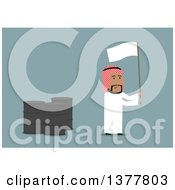 Clipart Of A Flat Design Arabian Business Man Waving A White Flag By Oil Barrels On Blue Royalty Free Vector Illustration