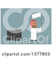 Poster, Art Print Of Flat Design Arabian Business Man Waving A White Flag By Oil Barrels On Blue