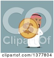 Clipart Of A Flat Design Arabian Business Man Holding A Dollar Coin On Blue Royalty Free Vector Illustration by Vector Tradition SM