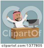 Clipart Of A Flat Design Arabian Business Man Receiving A Diamond Through A Computer On Blue Royalty Free Vector Illustration by Vector Tradition SM