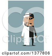 Clipart Of A Flat Design Arabian Business Man Part Robber Part Entrepreneur On Blue Royalty Free Vector Illustration by Vector Tradition SM