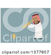 Clipart Of A Flat Design Arabian Business Man Looking At A Trophy Through A Spyglass On Blue Royalty Free Vector Illustration