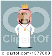 Clipart Of A Flat Design Arabian Business Man King Wearing A Medal On Blue Royalty Free Vector Illustration by Vector Tradition SM