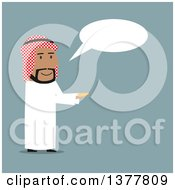 Clipart Of A Flat Design Arabian Business Man Holding Out Coins And Talking On Blue Royalty Free Vector Illustration by Vector Tradition SM