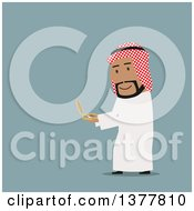 Clipart Of A Flat Design Arabian Business Man Using A Compass On Blue Royalty Free Vector Illustration by Vector Tradition SM