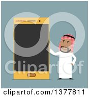 Flat Design Arabian Business Man With A Smart Phone On Blue