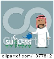 Clipart Of A Flat Design Arabian Business Man Watering Success Plants On Blue Royalty Free Vector Illustration by Vector Tradition SM