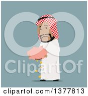 Clipart Of A Flat Design Arabian Business Man Dumping Out A Piggy Bank On Blue Royalty Free Vector Illustration