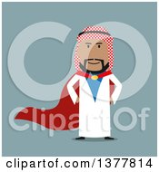 Clipart Of A Flat Design Arabian Business Man  On Blue Royalty Free Vector Illustration by Vector Tradition SM