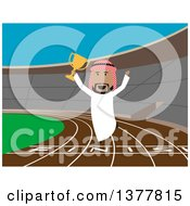Clipart Of A Flat Design Arabian Business Man Jumping With A Trophy On A Track On Blue Royalty Free Vector Illustration by Vector Tradition SM