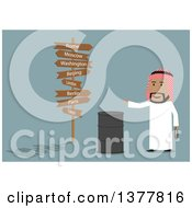 Clipart Of A Flat Design Arabian Business Man  On Blue Royalty Free Vector Illustration
